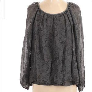 Piazza Roma Long Sleeve Silk Blouse Grey medium